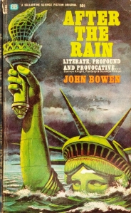 "The cover of the book ""After the Rain"" features the Statue of Liberty submerged in water up to her face. All that is visible is the torch and the top half of her head. The sky is dark and cloudy. The title and author of the book are in the top right corner."