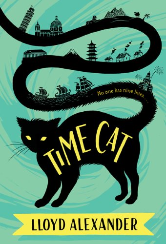 The cover of the novel TIME CAT by Lloyd Alexander. A black cat with the title of the book has a very long tail that spans the rest of the cover, on which various scenes from history can be seen. The background is a whirlpool of dark and light green colors.